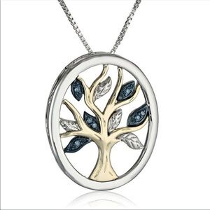 Tree of Life silver and gold toned necklace